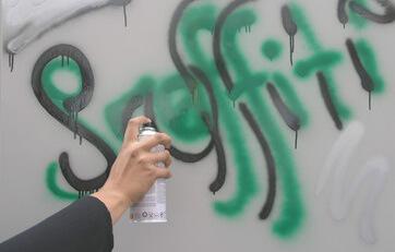 Zanieczyszczone skrzydło drzwi stopniowo spryskać odpowiednim sprayem anty-graffiti.